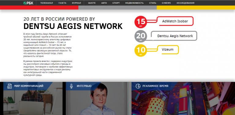 Dentsu Aegis Network. 20 лет в России.